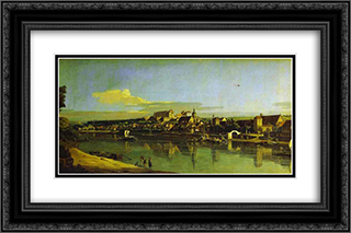 Pirna Seen from the Right Bank of the Elbe 24x16 Black or Gold Ornate Framed and Double Matted Art Print by Bernardo Bellotto