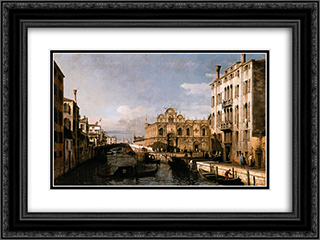 Rio dei Mendicanti and the Scuola di San Marco 24x18 Black or Gold Ornate Framed and Double Matted Art Print by Bernardo Bellotto