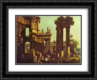 Ruins of a Temple 24x20 Black or Gold Ornate Framed and Double Matted Art Print by Bernardo Bellotto