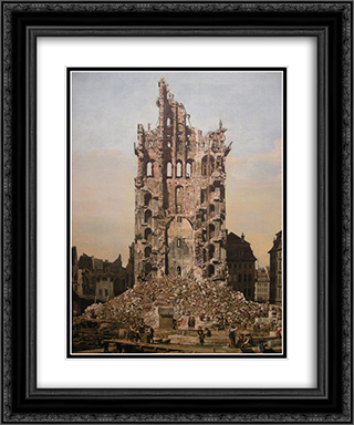 Ruins of Dresden's Kreuzkirche 20x24 Black or Gold Ornate Framed and Double Matted Art Print by Bernardo Bellotto