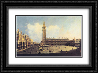 San Marco Square from the Clock Tower Facing the Procuratie Nuove 24x18 Black or Gold Ornate Framed and Double Matted Art Print by Bernardo Bellotto