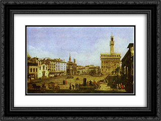 Signoria Square in Florence 24x18 Black or Gold Ornate Framed and Double Matted Art Print by Bernardo Bellotto
