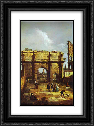 The Arch of Constantine 18x24 Black or Gold Ornate Framed and Double Matted Art Print by Bernardo Bellotto