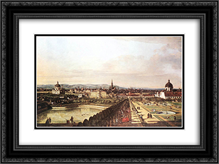 The Belvedere from Gesehen, Vienna 24x18 Black or Gold Ornate Framed and Double Matted Art Print by Bernardo Bellotto