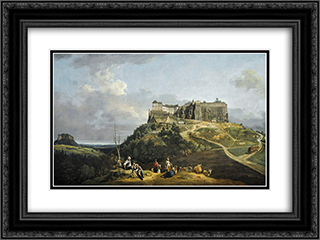 The Fortress of Konigstein 24x18 Black or Gold Ornate Framed and Double Matted Art Print by Bernardo Bellotto