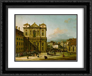 The Freyung 24x20 Black or Gold Ornate Framed and Double Matted Art Print by Bernardo Bellotto