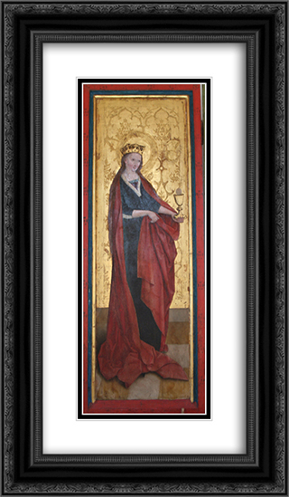 Barbara of Nicomedia 14x24 Black or Gold Ornate Framed and Double Matted Art Print by Bernhard Strigel
