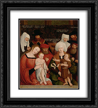 Holy Family 20x22 Black or Gold Ornate Framed and Double Matted Art Print by Bernhard Strigel