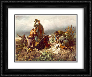 Discovery of the Body of King Louis the Second 24x20 Black or Gold Ornate Framed and Double Matted Art Print by Bertalan Szekely