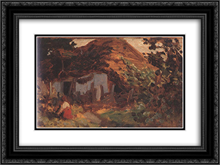Farm-yard with Girl in Red Skirt 24x18 Black or Gold Ornate Framed and Double Matted Art Print by Bertalan Szekely