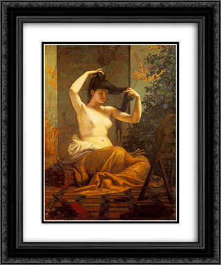 Japanese Woman 20x24 Black or Gold Ornate Framed and Double Matted Art Print by Bertalan Szekely