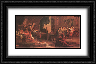 King Laszlo V and Ulrik Cillei 24x16 Black or Gold Ornate Framed and Double Matted Art Print by Bertalan Szekely