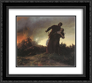 Mihaly Dobozi and his Wife 22x20 Black or Gold Ornate Framed and Double Matted Art Print by Bertalan Szekely