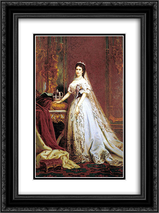 Queen Elisabeth of Hungary and Bohemia 18x24 Black or Gold Ornate Framed and Double Matted Art Print by Bertalan Szekely