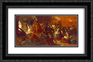 Zrinyi's Charge from the Fortress of Szigetvar 24x16 Black or Gold Ornate Framed and Double Matted Art Print by Bertalan Szekely