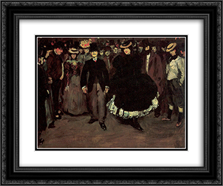 Bal Bullier 24x20 Black or Gold Ornate Framed and Double Matted Art Print by William James Glackens