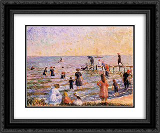 Bathing at Bellport, Long Island 24x20 Black or Gold Ornate Framed and Double Matted Art Print by William James Glackens