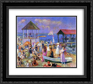 Beach Scene, New London 22x20 Black or Gold Ornate Framed and Double Matted Art Print by William James Glackens