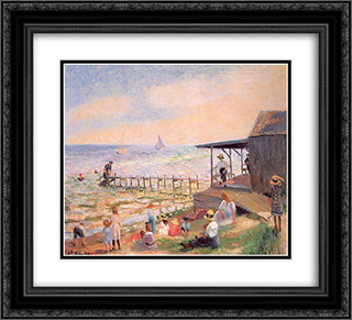Beach side 22x20 Black or Gold Ornate Framed and Double Matted Art Print by William James Glackens