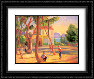Bowlers, La Ciotat 24x20 Black or Gold Ornate Framed and Double Matted Art Print by William James Glackens