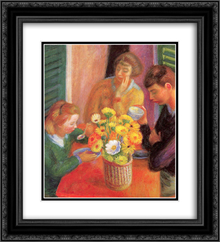Breakfast Porch 20x22 Black or Gold Ornate Framed and Double Matted Art Print by William James Glackens