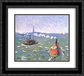 Breezy Day Tugboats New York Harbor 22x20 Black or Gold Ornate Framed and Double Matted Art Print by William James Glackens