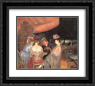 Cafe de la Paix 22x20 Black or Gold Ornate Framed and Double Matted Art Print by William James Glackens