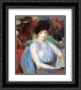 Cafe Lafayette (Portrait of Kay Laurel) 20x22 Black or Gold Ornate Framed and Double Matted Art Print by William James Glackens