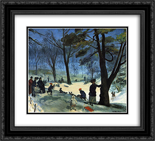 Central Park in Winter 22x20 Black or Gold Ornate Framed and Double Matted Art Print by William James Glackens