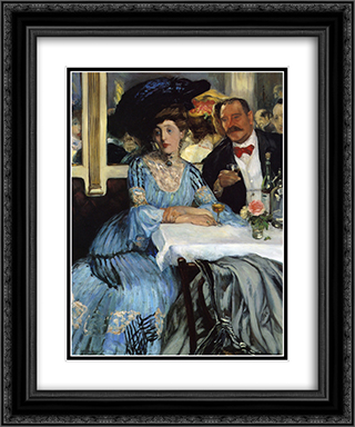 Chez Mouquin 20x24 Black or Gold Ornate Framed and Double Matted Art Print by William James Glackens