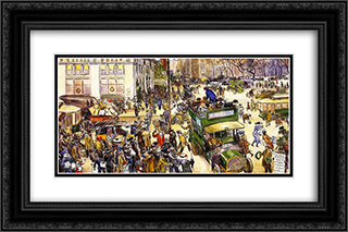 Christmas Shoppers 24x16 Black or Gold Ornate Framed and Double Matted Art Print by William James Glackens