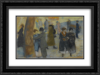City Scene 24x18 Black or Gold Ornate Framed and Double Matted Art Print by William James Glackens