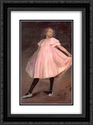 Dancer in a pink dress 18x24 Black or Gold Ornate Framed and Double Matted Art Print by William James Glackens
