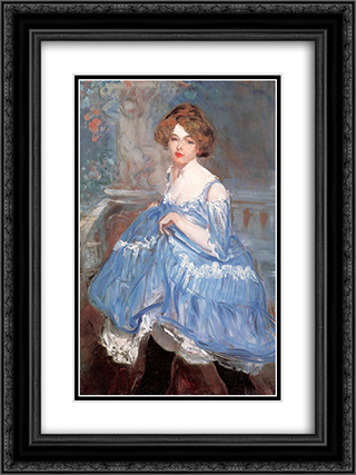 Dancer in blue 18x24 Black or Gold Ornate Framed and Double Matted Art Print by William James Glackens
