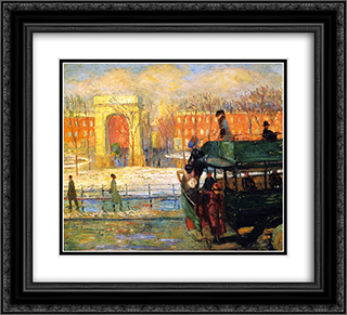 Descending from the Bus 22x20 Black or Gold Ornate Framed and Double Matted Art Print by William James Glackens