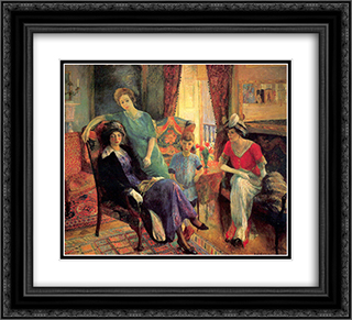 Family group 22x20 Black or Gold Ornate Framed and Double Matted Art Print by William James Glackens