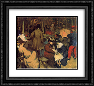 Figures in a Park, Paris 22x20 Black or Gold Ornate Framed and Double Matted Art Print by William James Glackens