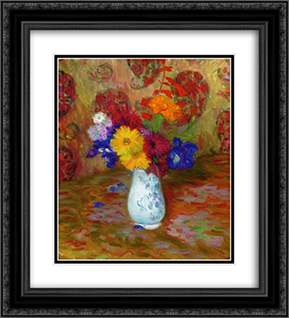 Flowers Against a Palm Leaf Pettern 20x22 Black or Gold Ornate Framed and Double Matted Art Print by William James Glackens