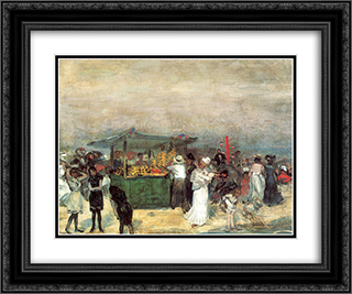 Fruit Stand, Coney Island 24x20 Black or Gold Ornate Framed and Double Matted Art Print by William James Glackens