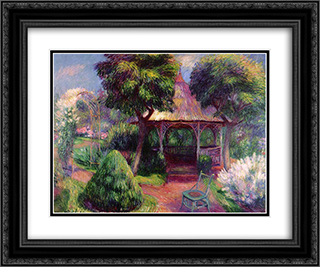 Garden in Hartford 24x20 Black or Gold Ornate Framed and Double Matted Art Print by William James Glackens