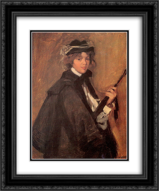Girl in a Black Cape 20x24 Black or Gold Ornate Framed and Double Matted Art Print by William James Glackens