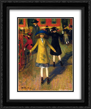 Girl Roller-Skating, Washington Square 20x24 Black or Gold Ornate Framed and Double Matted Art Print by William James Glackens