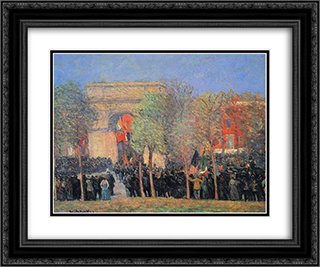 Italo-American Celebration, Washington Square 24x20 Black or Gold Ornate Framed and Double Matted Art Print by William James Glackens