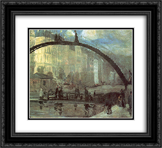 La Villette 22x20 Black or Gold Ornate Framed and Double Matted Art Print by William James Glackens