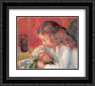 Lenna Painting (The Artist's Daughter) 22x20 Black or Gold Ornate Framed and Double Matted Art Print by William James Glackens
