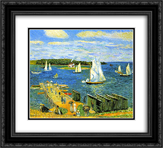 Mahone Bay 22x20 Black or Gold Ornate Framed and Double Matted Art Print by William James Glackens