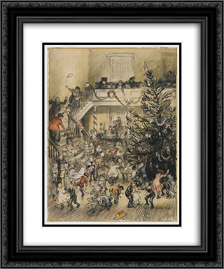 Merry Christmas 20x24 Black or Gold Ornate Framed and Double Matted Art Print by William James Glackens