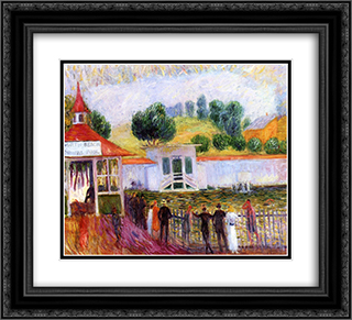 North Beach Swimming Pool 22x20 Black or Gold Ornate Framed and Double Matted Art Print by William James Glackens