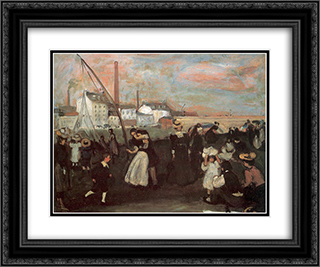 On the quai 24x20 Black or Gold Ornate Framed and Double Matted Art Print by William James Glackens