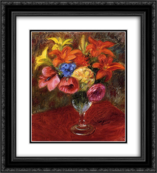 Poppies, Lilies and Blue Flowers 20x22 Black or Gold Ornate Framed and Double Matted Art Print by William James Glackens